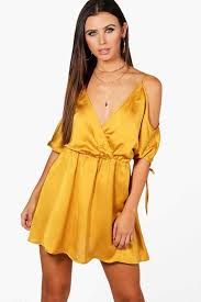 cheap dresses boohoo phoebe plunge satin batwing skater dress best