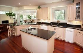 Kitchen Hardwood Floors by 36 Inspiring Kitchens With White Cabinets And Dark Granite Pictures