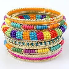 bangle bracelet beads images Multi color bead bangle bracelet set jpg