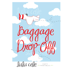 baggage drop off party printable sign plane birthday party