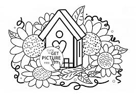 birdhouse and sunflowers coloring page for kids flower coloring