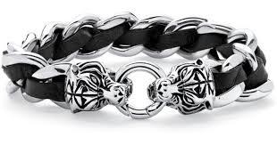 mens black link bracelet images Lyst palmbeach jewelry men 39 s tiger head curb link bracelet in jpeg