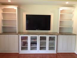 Lcd Tv Furniture Design For Hall White Wooden Wall Shelving Units With Glass Door And Racks Also