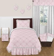 Ruffle Bedding Set Jojo Designs Pink Gray Damask Butterfly Ruffle