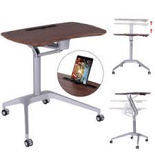 goplus height adjustable laptop desk rolling workstation computer