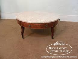 Round Marble Top Coffee Table Weiman Regency Neo Classical Mahogany Inlaid Round Marble Top