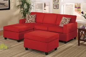 Ottoman Red by All In One Microfiber Plush Sectional Sofa With Ottoman Red