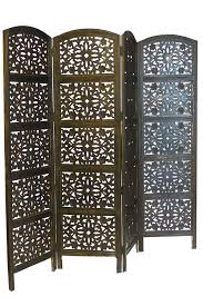 carved wood room divider 4 panel heavy duty indian screen wooden flower design screen room