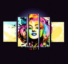 5 panel large abstract wall art cheap modern hand painted marilyn