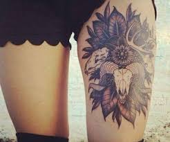 awesome hippie flower design for thigh