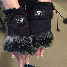 ugg australia gloves sale 82 ugg accessories ugg black faux fur lined fingerless