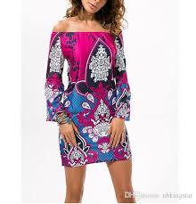 2016 summer beach dress fashion bohemian boho flower print off