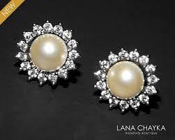 pearl earrings stud pearl stud earrings swarovski ivory pearl cz earrings bridal small