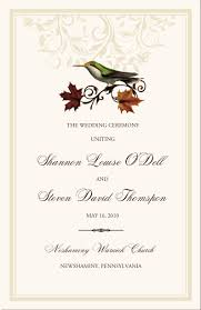 Order Wedding Programs Bird Themed Wedding Programs Wedding Ceremony Programs Church