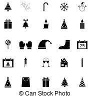 christmas icon set christmas silhouettes with santa clip art
