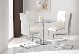 round glass dining table with white chairs 8249