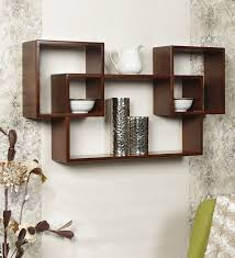 wall shelves pepperfry buy ladder wall shelf in brown finish by home sparkle online