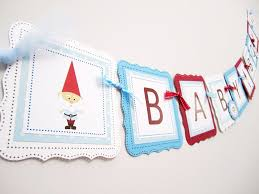 baby shower banners garden gnome baby shower banner for a boy adore by nat
