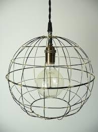 orb pendant light sphere hanging light round metal caged