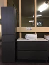 1680mm black linewood timber wood grain wall hung bathroom tallboy