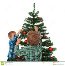 decorate christmas tree kids decorating christmas tree stock photo image of isolated