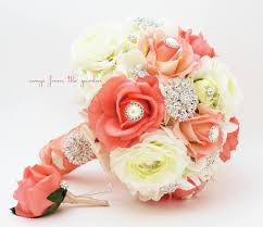 wedding flowers groom coral white brooches blooms brooch bridal bouquet groom