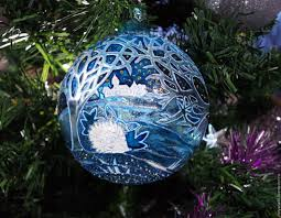 buy glass christmas ball with stained glass painted blue forest on