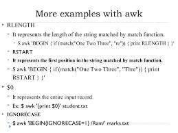 pattern matching using awk exles spsl ii unit