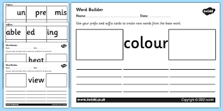 prefix and suffix word builder cards and worksheets prefixes