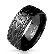 tire wedding ring s grooved dome tire tread black ip stainless steel comfort fit