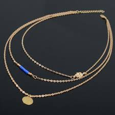 gold chain necklace woman images Fashion women three layers chain choker necklace hamsa hand jpg