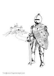 coloriage chevalier devant château