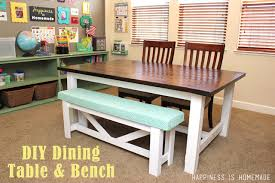 Diy Farmhouse Dining Room Table Diy Farmhouse Table Bench Happiness Is