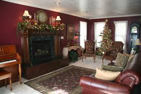 christmas decorated living rooms stone fireplace fireplace wall
