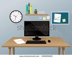 Business Computer Desk Computer Desk Workplace Business Concept Stock Vector