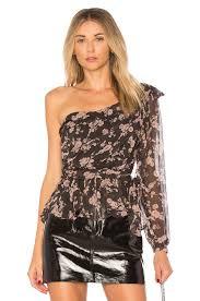 one shoulder blouse for lemons theo one shoulder blouse in winter floral revolve