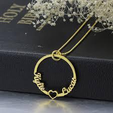 Couple Name Necklace Circle Heart Necklace 2 Couple U0027s Name Necklace Family Necklace
