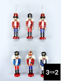 set of 6 wood nutcracker hanging ornaments co uk