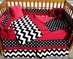 Black And White Crib Bedding Set Black White Polka Dot And Chevron W Minky Crib Bedding Set