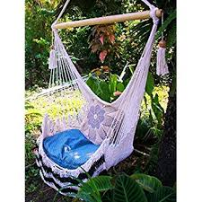 Hanging Chair Hammock Amazon Com Amazing Hammock Chair Crochet Beige Indoor Outdoor
