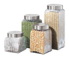 oggi kitchen canisters oggi ribbed glass 4 canister set clear by oggi corporation
