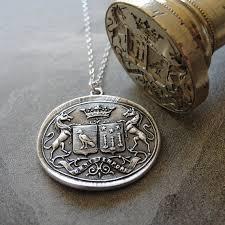 wax seal jewelry wax seal necklace unicorn crest birds antique wax seal
