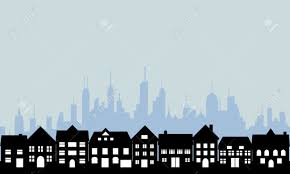 House Silhouette by Suburban Homes And Big City Royalty Free Cliparts Vectors And