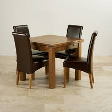 Rustic Leather Dining Chairs by Oak And Leather Dining Room Chairs Oak Dining Table And 4 Leather