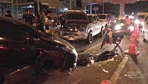 car camera shows car crash at intersection thai pbs english news