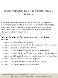 Construction Resume Examples by Top 8 Construction Project Coordinator Resume Samples 1 638 Jpg Cb U003d1427858341