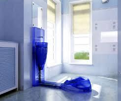 blue bathroom wall decor white tiles of standing shower room dark