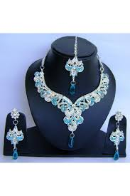 necklace set blue stone images Zircon stone festooned fancy silver and sky blue color alloy jpg