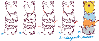 how to draw cute kawaii cats stacked on top of each other easy