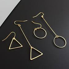 triangle earrings minimalist hm cos wind length asymmetric geometry hollow circular